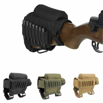 tactical buttstock shotgun rifle stock ammo portable pouch shell cartridge holder pouch holder cheek leather pad Military Tactical Buttstock Rifle Cheek Rest Pouch Bullet Shell Holder Carrier Hunting Accessories Airsoft Ammo Cartridges Bag