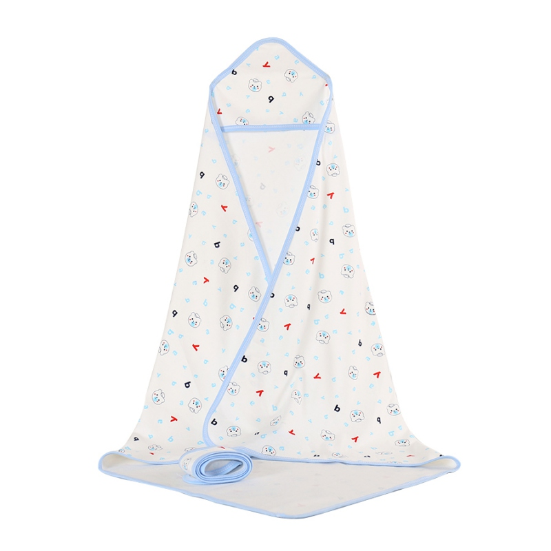 80CM/90CM Baby Hooded Bathrobe Soft Infant Newborn Towel Cartoon Printed Towel Blanket Baby Bath Towel