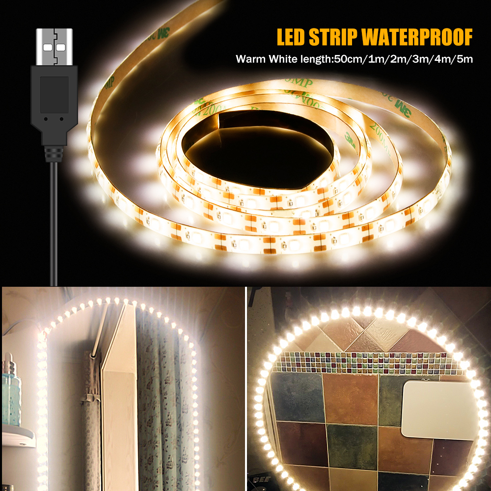 5M Vanity Makeup Mirror Lamp Led Light Strip 5V USB LED Flexible Tape Led Dressing Table Mirror Lamp Decor Bathroom Light Strip