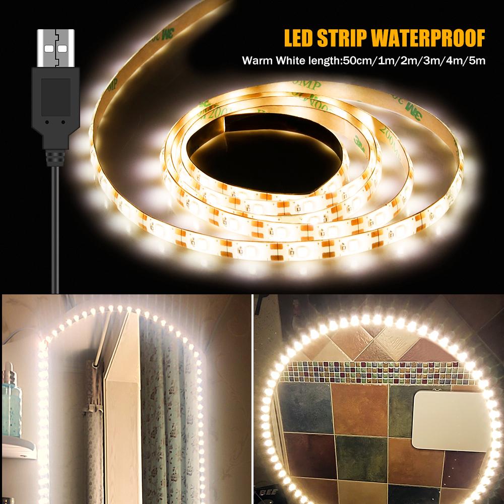 LED Makeup Mirror Light USB Cable Powered Flexible Dressing Table Vanity Lamp 5V Waterproof Bathroom Mirror Backlight Decor Lamp