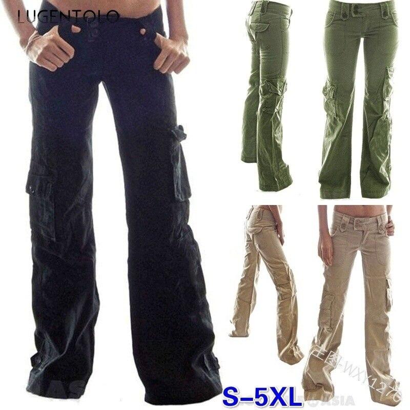 Брюки Lugentolo Plus Szie женские летние однотонные с низкой талией и карманами полная длина на пуговицах уличная одежда