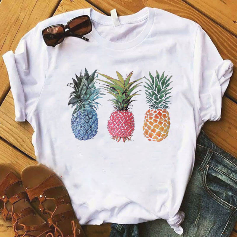파인애플 과일 의류 티셔츠 패션 여성 티 탑 그래픽 T 셔츠 여성 Kawaii Camisas Mujer Clothes 2019