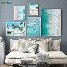 Barco oceano ondas aéreas imagem natureza escandinavo cartaz nórdico decoração areia praia ônibus impressão da arte da parede