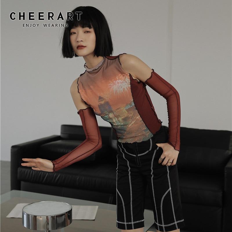 CHEERART Mesh Turtleneck Tshirt Night Scene Graphic Tees Women Off Shoulder Transparent Top Red Summer T Shirts Fashion 2020