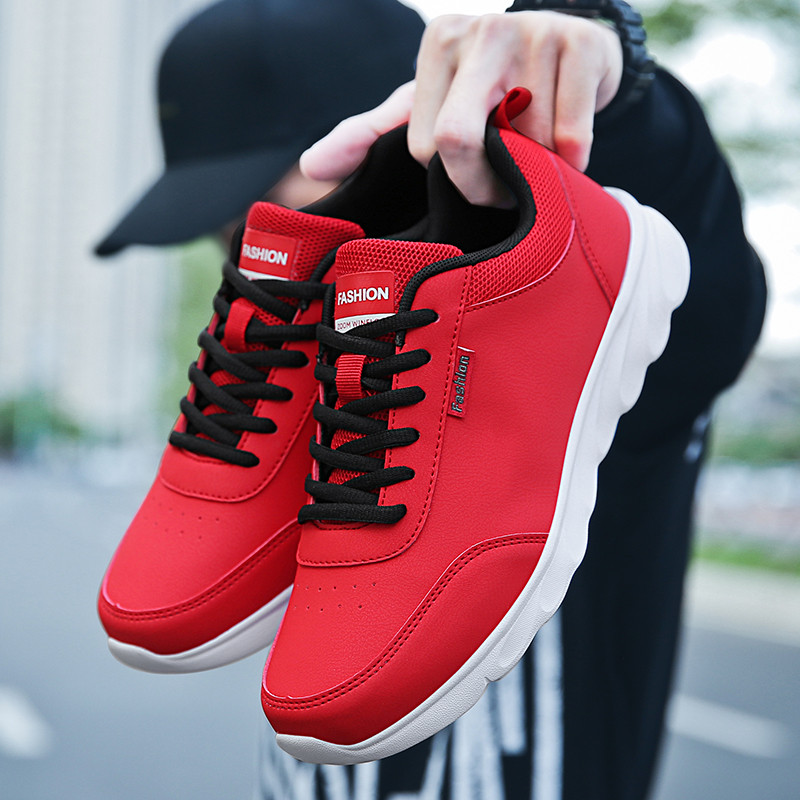 Image 2 - PU Leather Casual Shoes Mens Sneakers Men Lace Up Spring  Arrival Breathable Leisure Footwear Board Shoes Males Adult MasculinoMens Casual Shoes   -