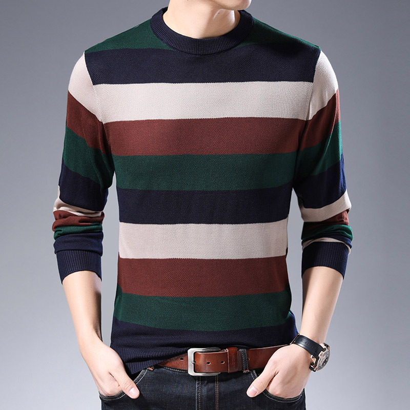 ICPANS Sweater Men Cotton Knitwear Pull Homme Streetwear Knitted Striped Pullover Men Autumn Winter Mens Sweaters