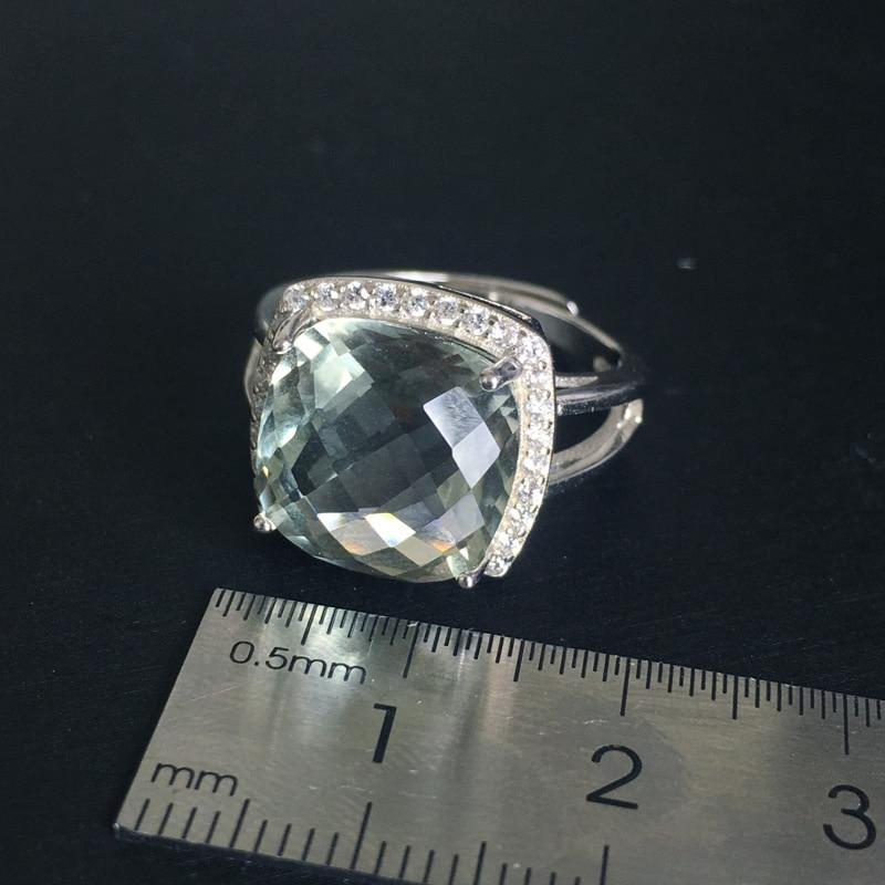 CSJ élégant vert améthyste anneau coussin cut12mm pierres précieuses anneaux sterling 925 argent fine bijoux pour femmes fille avec boîte-cadeau - 4