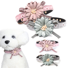 Lovely Cute Pet Collar  Adjustable Flower Bowknot Leather Puppy Dog Personalized Styles Cat Bow tie Neck Strap D40