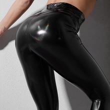 Frete grátis feminino sexy preto pvc calças leggings de couro tamanho S XXL