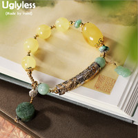 Uglyless Luxury Natural Amber Beeswax Bracelets Women Elastic Rope Chains Infinity Bracelet Emerald Jasper Charms Bangles BR337