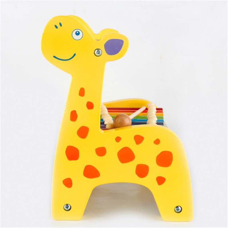 Deer Knock Piano Calculation Frame Beads Color Octave Knock Piano CHILDREN'S Toy Preschool Education Wooden Hand Knock Xylophone