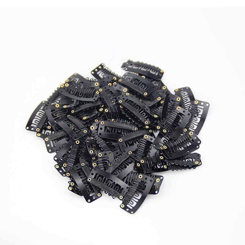 40 adet U şekli demir çıt çıtlı tokalar tüy saç ekleme peruk atkı siyah klip Styling araçları aletleri saç klipleri
