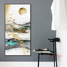 Abstract Golden Flying Bird Poster New Chinese Ink Landscape Canvas Painting Modern Home Decoration Wall Art Pictures No Frame(China)