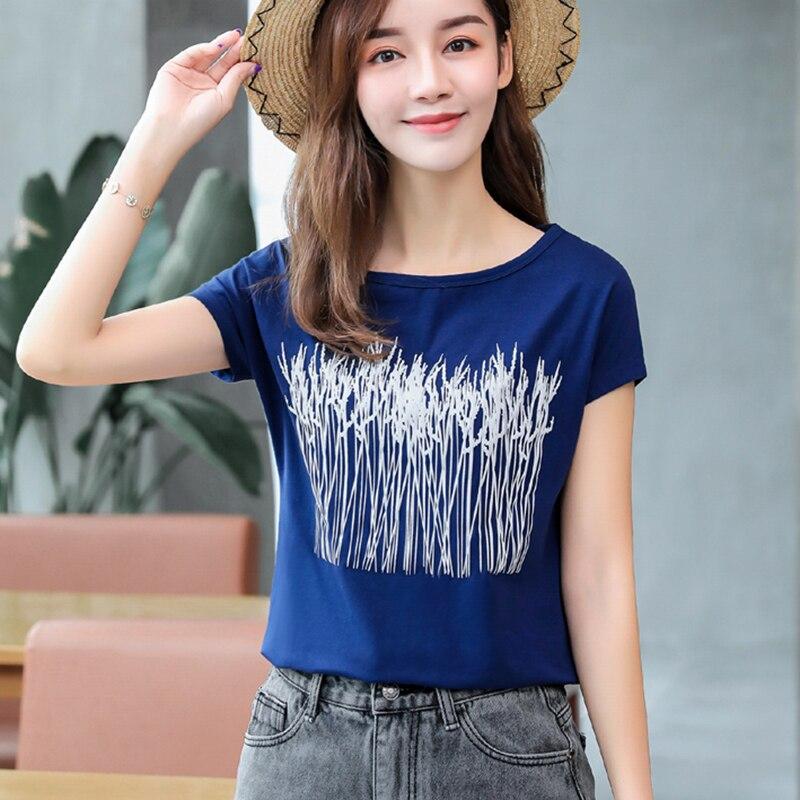 Print Short Sleeve T Shirt Women 2020 Summer Tops Womens Vogue Cotton Korean Style Woman Clothes T-Shirt Female Tee Shirt Femme