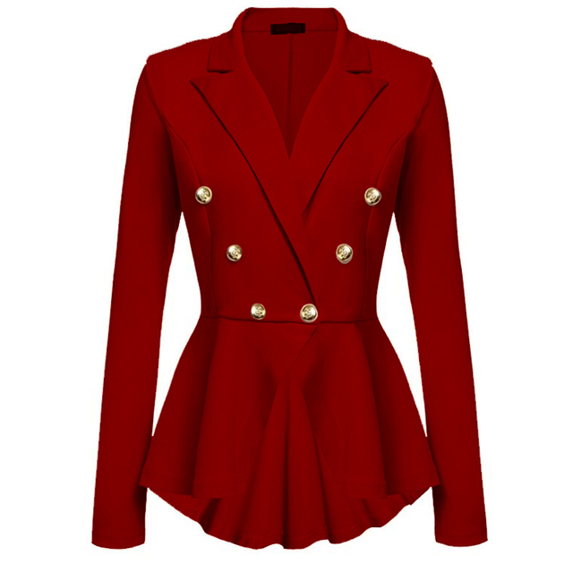 CINESSD Women Blazer Coats Notched Long Sleeves Double Breasted Metal Button Slim Casual Suits Jackets Solid Cotton Lady Blazers 5