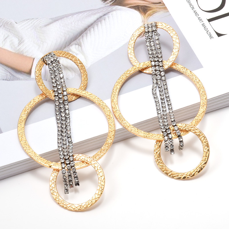 Wholesale ZA New Arrive Gold Round Dangling Drop Earrings With Hang Long Crystal Claw Chains Fine Jewelry Accessories For Women
