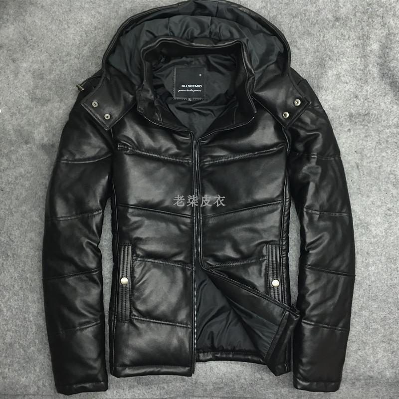 100% Real Leather Coat Men Winter Duck Down Genuine Leather Jacket Man Streetwear Sheepskin Coat Warm Bomber Jacket W2382