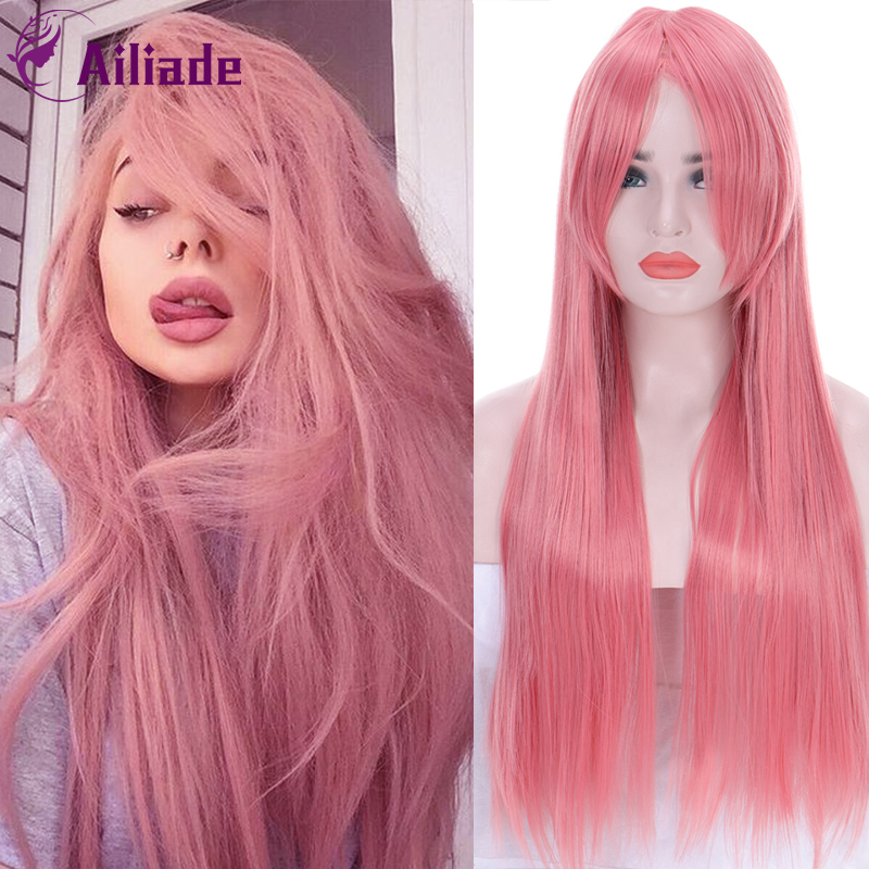 AILIADE Women's Long Straight Colorful Wig High Temperature Fiber Synthetic Hair 75 Cm Blue Pink Cosplay Wigs