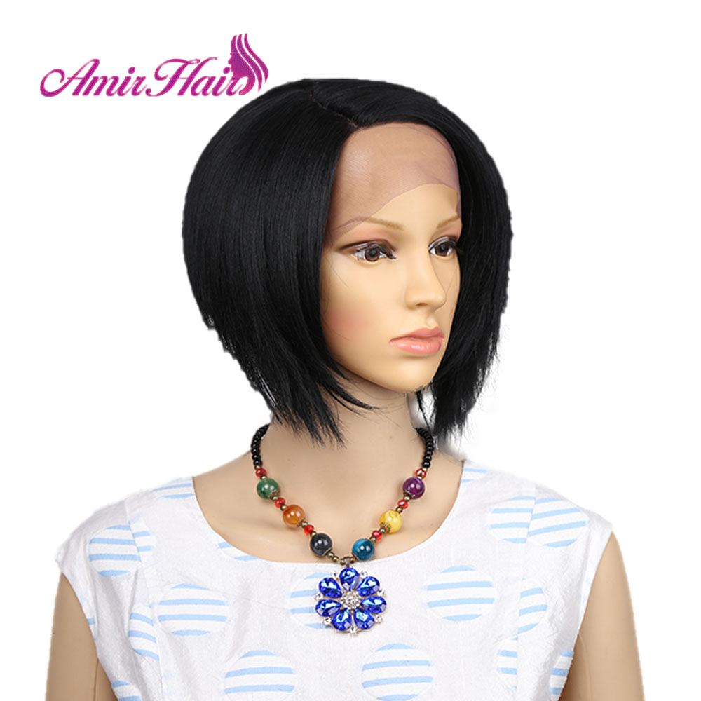 Short Bob Lace Front Wigs For Women Black Color Hand Tied Lace Side Parted Natural Looking Synthetic Lace Frontal Wig