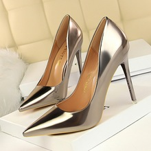 Fashionable Metal Heels Women #8217 s Shoes High Heels Shallow Mouth Pointed Sexy Nightclub Was Thin Shoes Side Cutout 9 5CM 6 5cm cheap VISIVANE Solid Spring Autumn Super High (8cm-up) Slip-On Fits true to size take your normal size Xxz2020042103