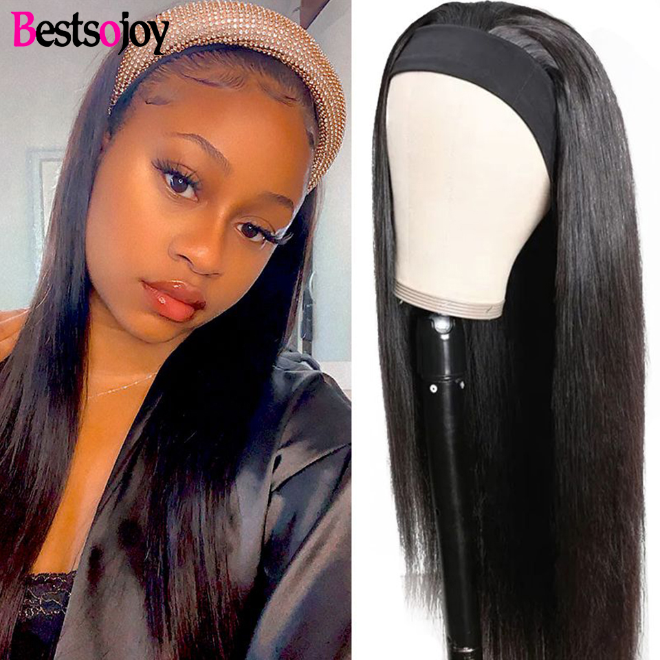 Bestsojoy Straight Headband Wig Human Hair Wigs for Black Women Natural Color Full Machine Made Scarf Headband Wig