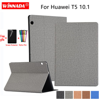 цена на For Huawei MediaPad T5 10.1 case linen grain PU leather Stand Protective Case TPU Cover for HUAWEI T5-10 AGS2-W09 AGS2-L09 Coque