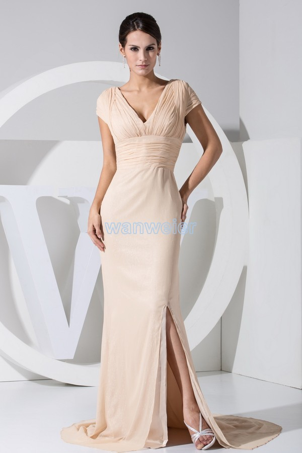 Free Shipping Hot Sale New Design Cap Sleeve V-neck Long Custom Evening Gown Chiffon Small Train Women Mother Of The Bride Dress