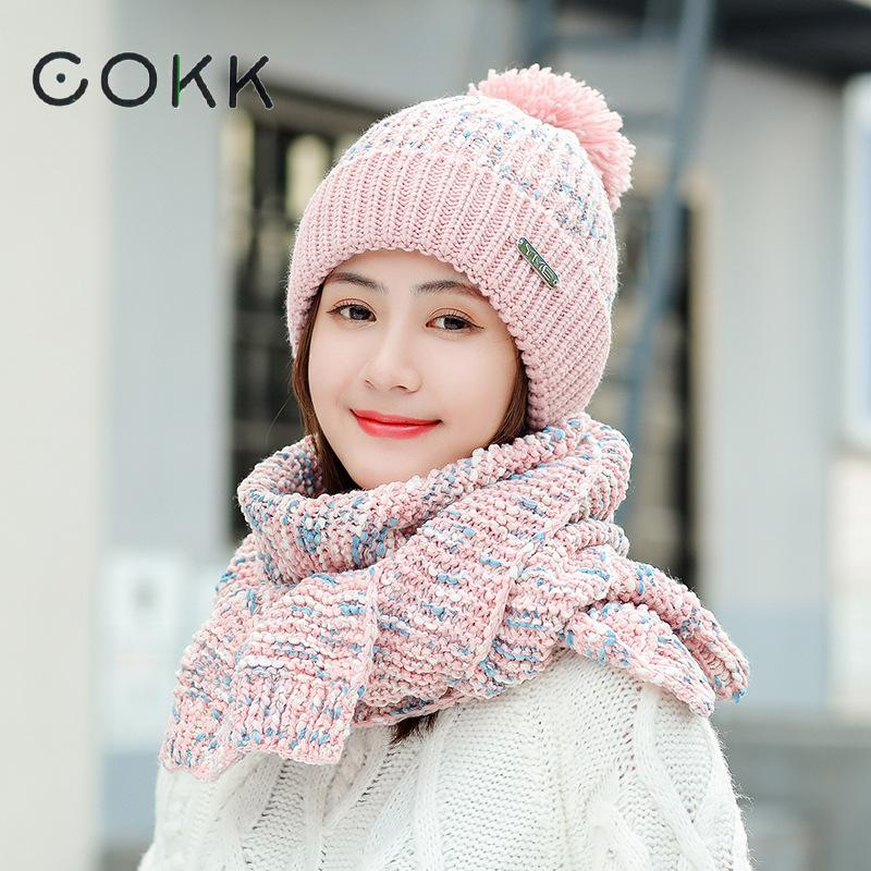 COKK Knitted Hat With Scarf Hat And Scarf Woman Velvet Thickening Set Windproof Outdoor Snow Collars Sets For Women Ladies