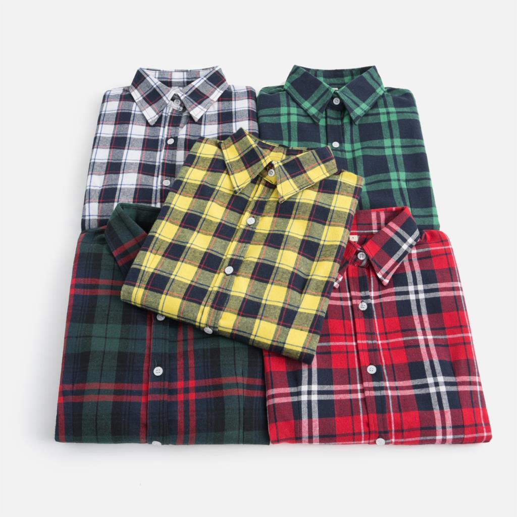 2019 outono nova marca feminina blusas de manga longa algodão flanela xadrez camisas femininas casuais plus size camisa feminina 28 cor