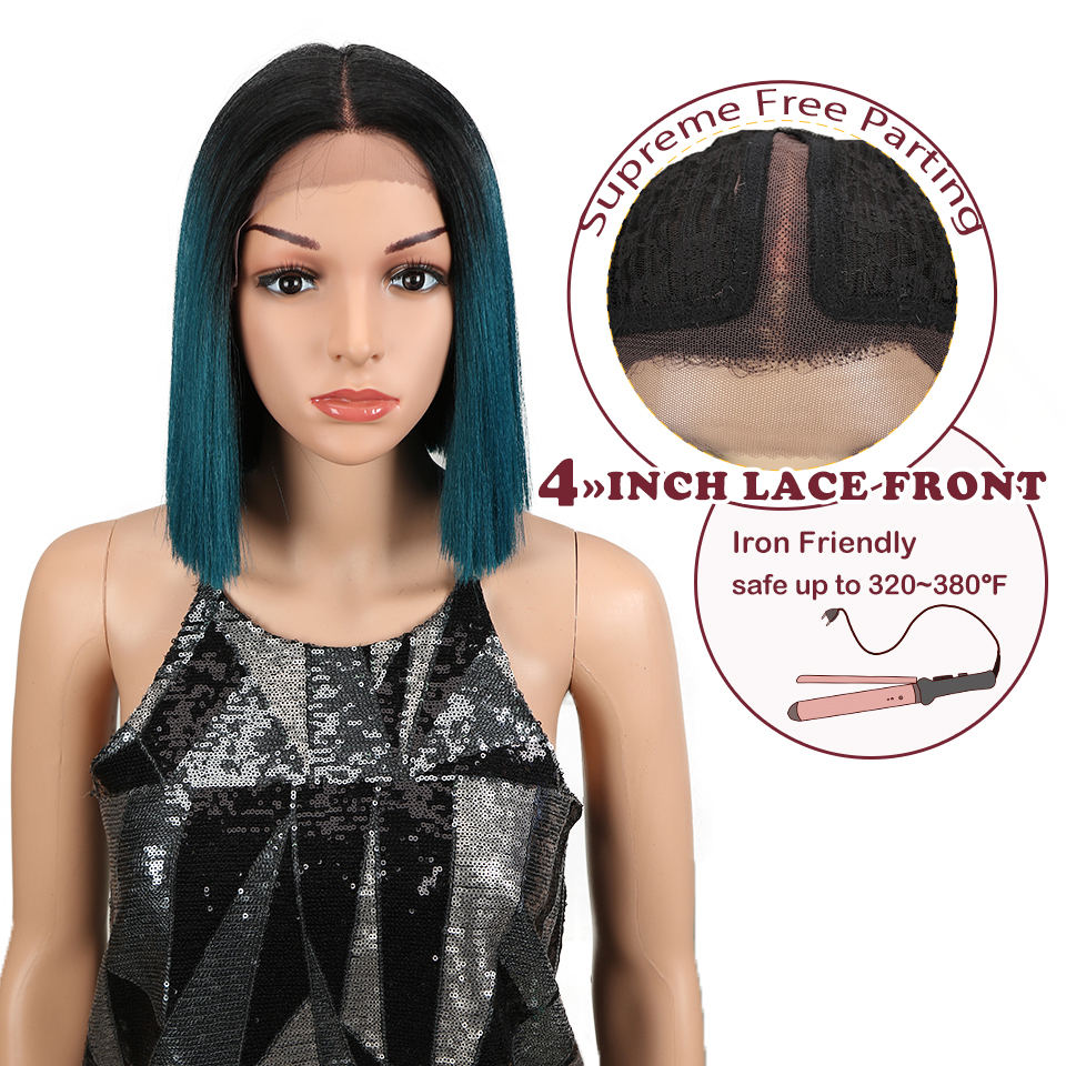 Magic Wig For Black Women 10 Inch Straight Hair Heat Resistant Elastic Lace Synthetic Wigs Cosplay Lace Front Wig