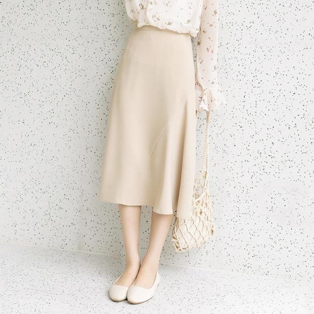 2020 Season Irregular Umbrella Pendulum Half-body Skirt Girls Long Han Fan Zhang Ulzzang Student Longuette Fashion 1