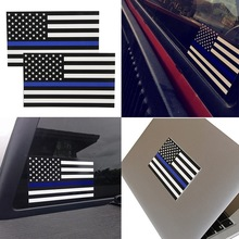 Decal Officer American Stickers Line Flag Graphic Car-Computer Police Thin Blue 5pcs