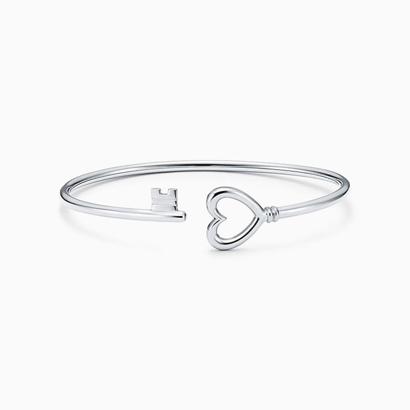 Femmes bracelet 925 bijoux en argent Sterling en forme de coeur ouverture argenterie Couple clé bracelet accessoires saint valentin cadeau - 4
