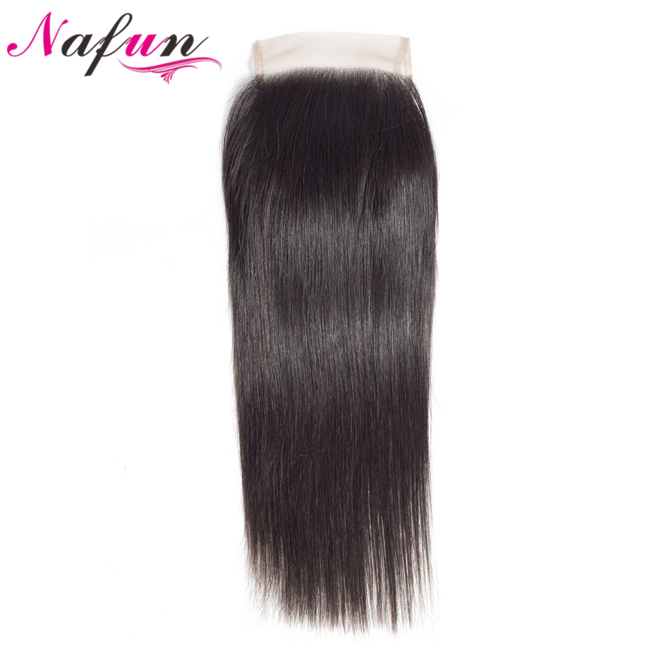 NAFUN Hair Closure Brazilian Straight 4x4 Lace Closure Human Hair Lace Closure Natural Color Swiss Lace Remy Hair Pre Plucked