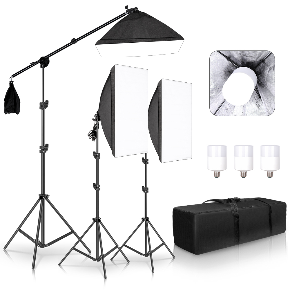 Professional Photo Studio Softbox Lights Continuous Lighting Kit Accessories Equipment With 3Pcs Soft BoxLED BlubTripod Stand