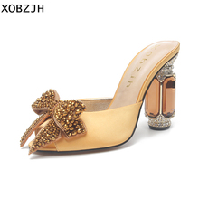 Italian Designer Rhinestone Luxury Sandals Heels Women Shoes 2019 For Wedding&Party Yellow High Heel Summer Sandals Shoes Woman latest red color brilliant summer sandals pumps italian shoes rhinestones african shoes italian elegant wedding shoes yzg7 47