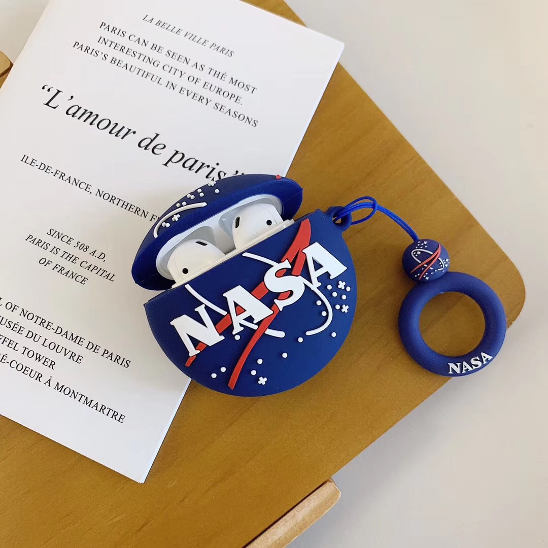 NASA Planet Silicone Protective Case Applicable Apple AirPods2 Generation Wireless Bluetooth 1 Generation Rechargeable Storage D