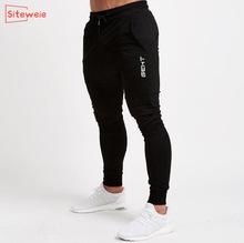SITEWEIE Joggers Sport Running Pants Fitness Mens Cotton Men Sportswear Tracksuit Bottoms Skinny Sweatpants Gyms Trousers G247 cheap Pencil Pants CN(Origin) Flat NONE Regular Full Length Casual Midweight Drawstring