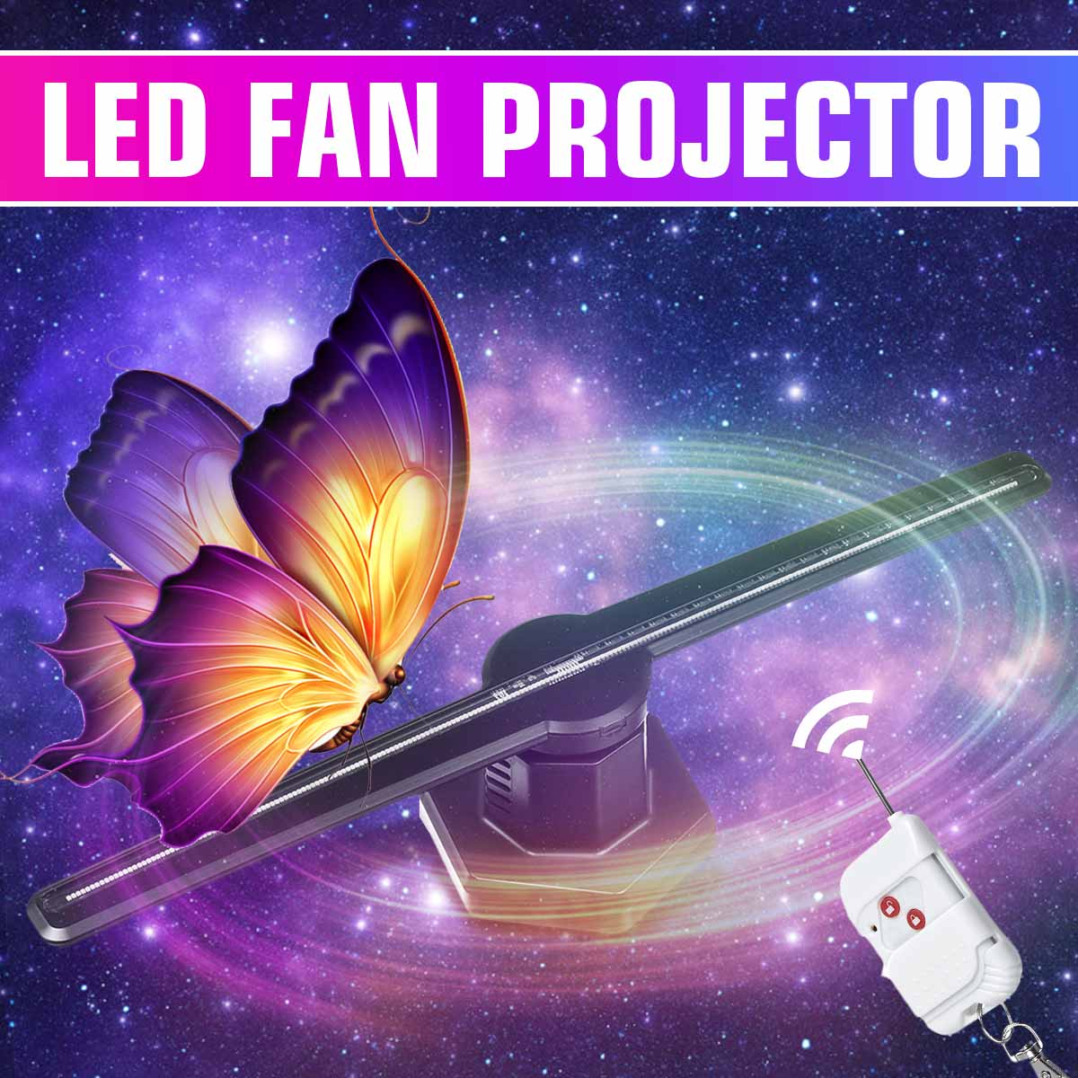 Smuxi 224LED Wifi 3D Holographic Projector Hologram Player LED Display Imaging Lamp Fan <font><b>Advertising</b></font> Light Remote Control image