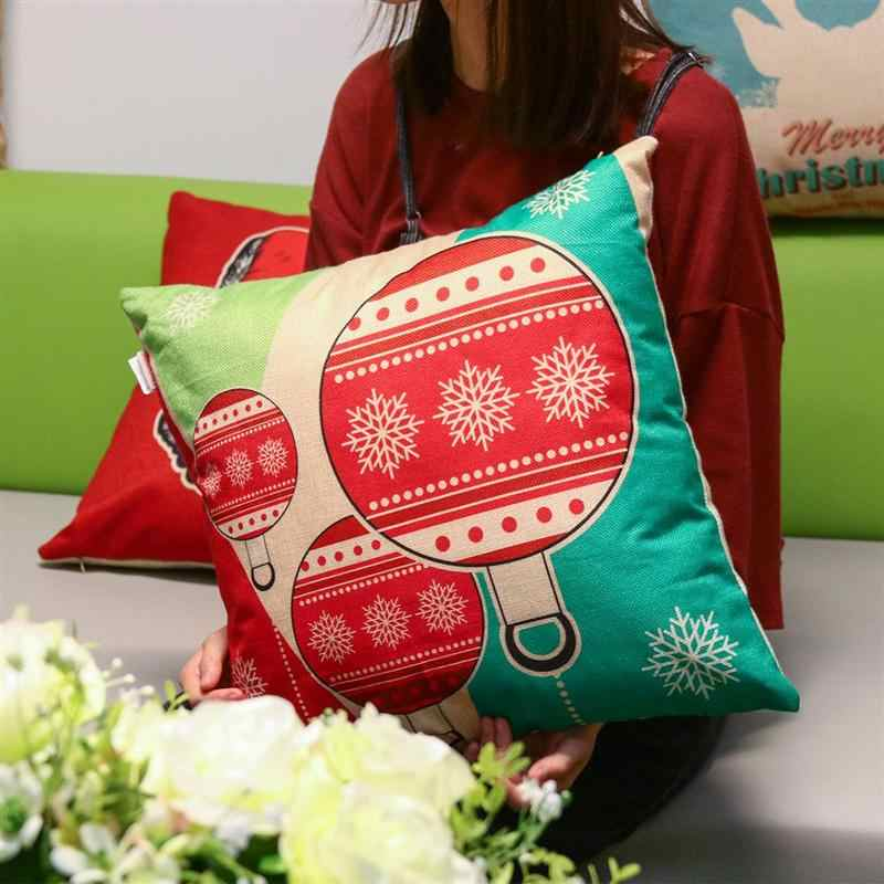 1 PC Cute Pillow Cover Reindeer Santa Pillow Case Cushion Cover Christmas Decorations Gift 45cmx45cm (Christmas Antler)