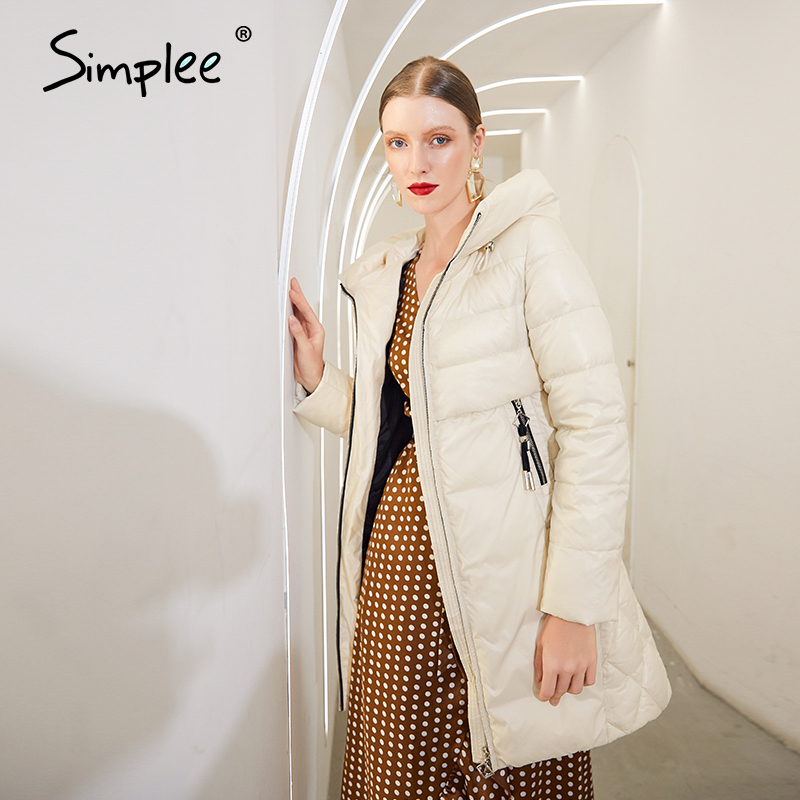 Simplee Warm elegant long women coat jacket with hat Casual pocket parka Fashion female long winter windproof jacket black 2020