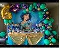 Красивая принцесса Жасмин с аладдинским дворцом фотографический фон фиолетовый фон для девочки день рождения торт стол Баннер