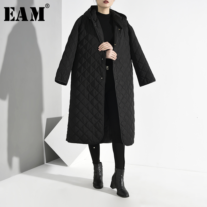 [EAM]  Hooded Black Big Size Warm Cotton-padded Coat Long Sleeve Loose Fit Women Parkas Fashion Tide New Spring Autumn 2020 A822