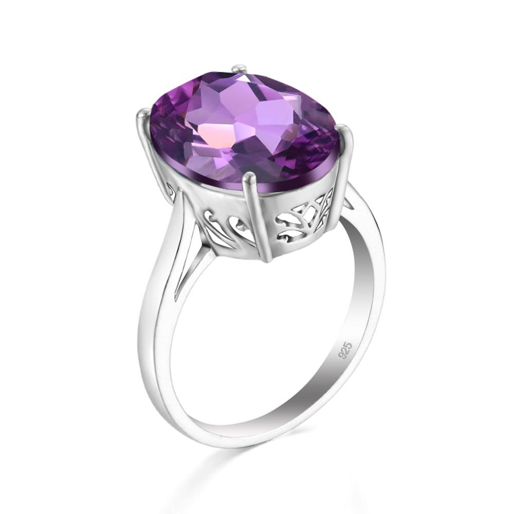 Szjinao Amethyst Ring Silver Oval Gemstone Rings For Women Silver 925 Jewelry Handmade Party Ringen Anel Anniversary Gift 2020
