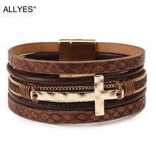 ALLYES Vintage Cross Leather Bracelet for Women Multilayer Chain Charm Braided Wrap Bracelet