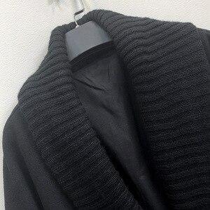Image 5 - Abrigo largo de lana de invierno a la moda para mujer, abrigo de mezcla de lana con doble botonadura y chaqueta con cuello vuelto