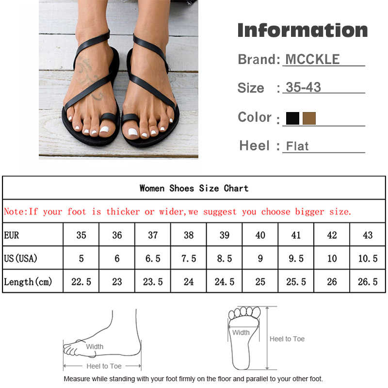 MCCKLE Women Summer Flat Sandals Rhinestone Thong Open Toe Woman Pu Leather Slip On Female Beach Shoes Ladies Fashion Footwear