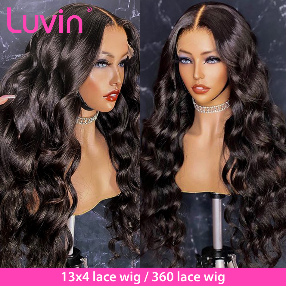 Luvin onda do corpo 360 perucas frontal do laço 26 28 30 Polegada pré arrancadas com o cabelo do bebê cabelo humano brasileiro 180 densidade peruca dianteira remy