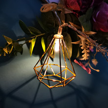 10LED 3D Metal Lantern Star String Lights Decorated In Christmas Tree Wedding Home Party Holiday