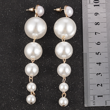 New Trendy Elegant Created Big Simulated Pearl Long Earrings Pearls String Statement Drop Earrings For Wedding Party Gift 4